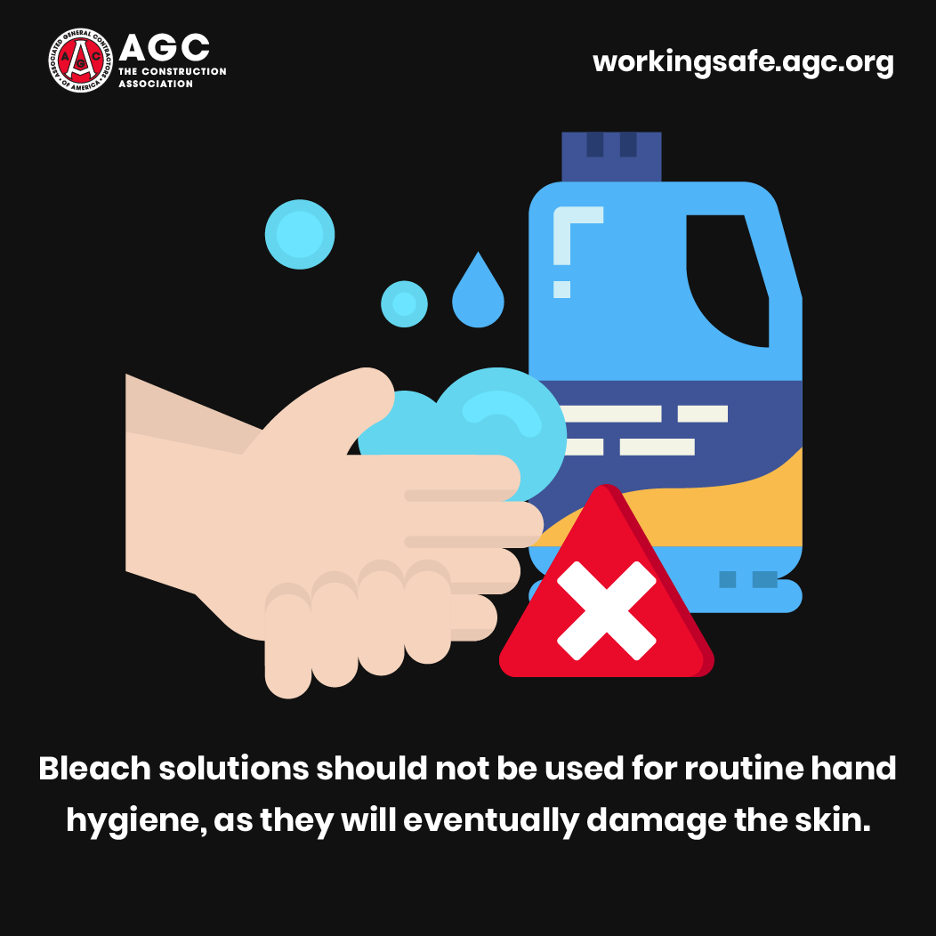 Bleach solutions should not be used for routine hand hygiene, as they will eventually damage the skin.